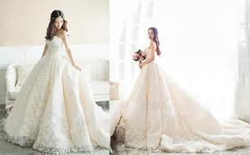 【花蔓】香槟色羽毛手工钉珠仪式纱+伴娘服