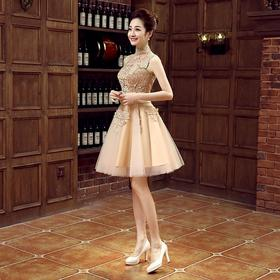 公司年会宴会显瘦晚礼服 新款伴娘服金色蕾丝主持人短款