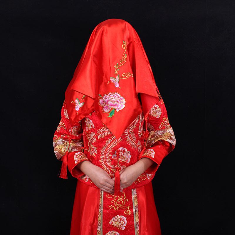 结婚用品道具新娘红盖头中式秀禾服刺绣盖头纱婚庆喜帕新娘蒙头巾