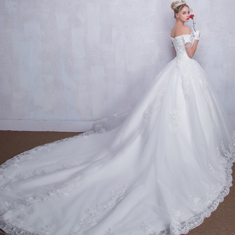 新款欧式宫廷2017一字肩齐地大码新娘婚纱礼服孕妇婚纱96