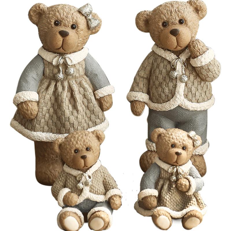 可爱动物小熊一家四口套装 婚房摆设家居装饰品
