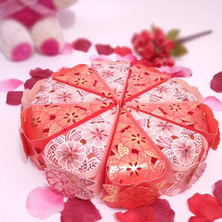 镂空蛋糕三角糖盒创意喜糖盒子婚庆结婚用品糖果纸252