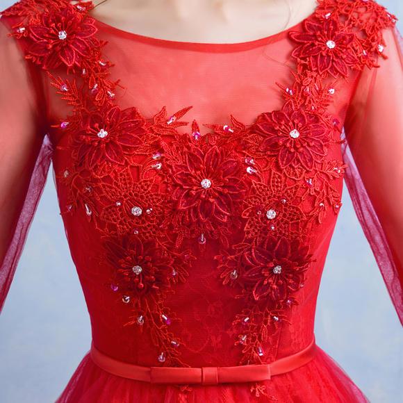 春季新款新娘结婚敬酒服红色短款礼服蕾丝连衣裙中袖晚礼