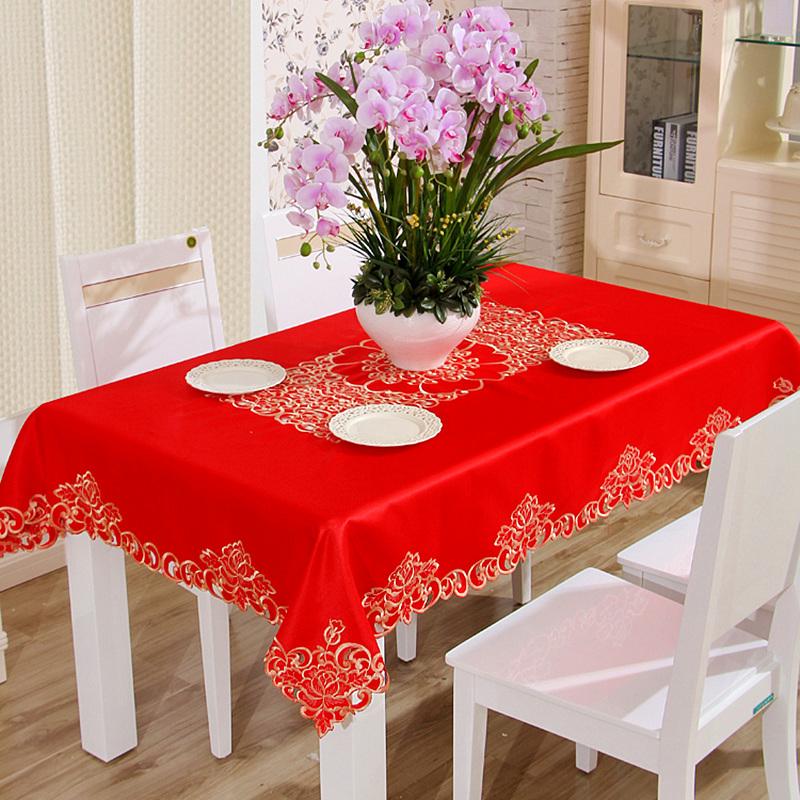 欧式刺绣红色茶几布布艺盖布长方形喜庆餐桌布婚庆饭