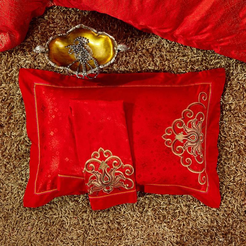 简约大红结婚四件套床上用品臻品床单四件套婚庆新品