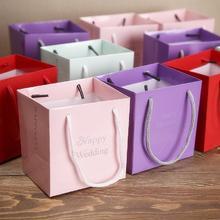 花半里蒂芙尼创意喜糖盒纸盒欧式结婚回礼袋子婚庆用品粉色手提袋