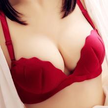 包邮无痕无钢圈加厚型半杯性感聚拢文胸加厚内衣胸罩本命年酒红色
