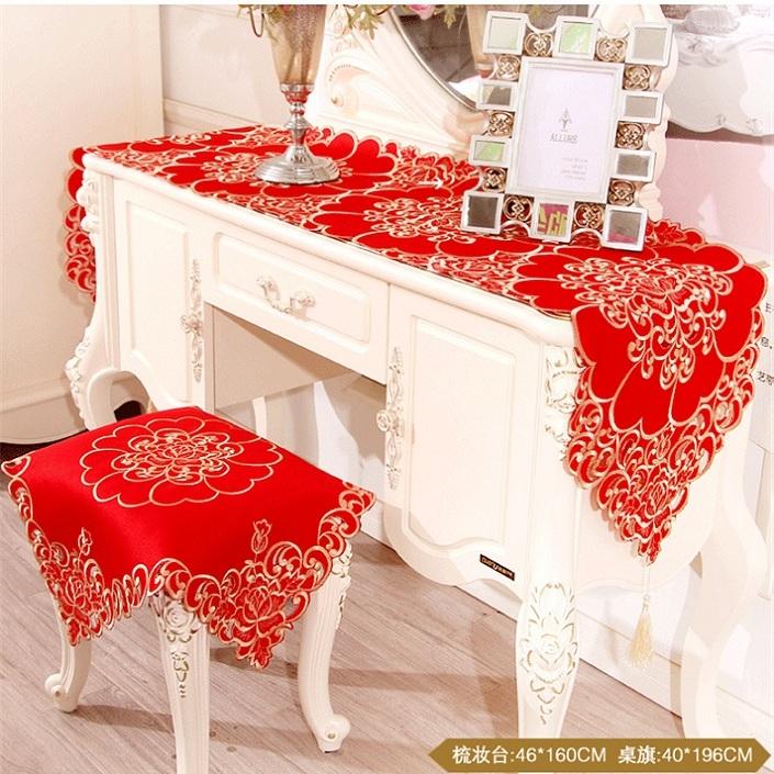 【包邮】欧式刺绣红色茶几布布艺盖布长方形喜庆餐桌