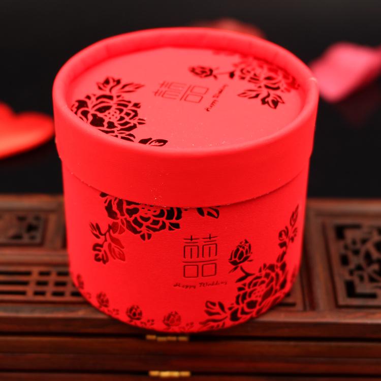 婚庆用品中国风烫金圆筒喜糖盒结婚圆桶中式创意糖果盒子