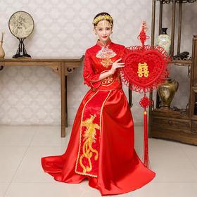 婚纱礼服新娘旗袍红色长款敬酒服春夏新款中式结婚嫁衣秀禾服