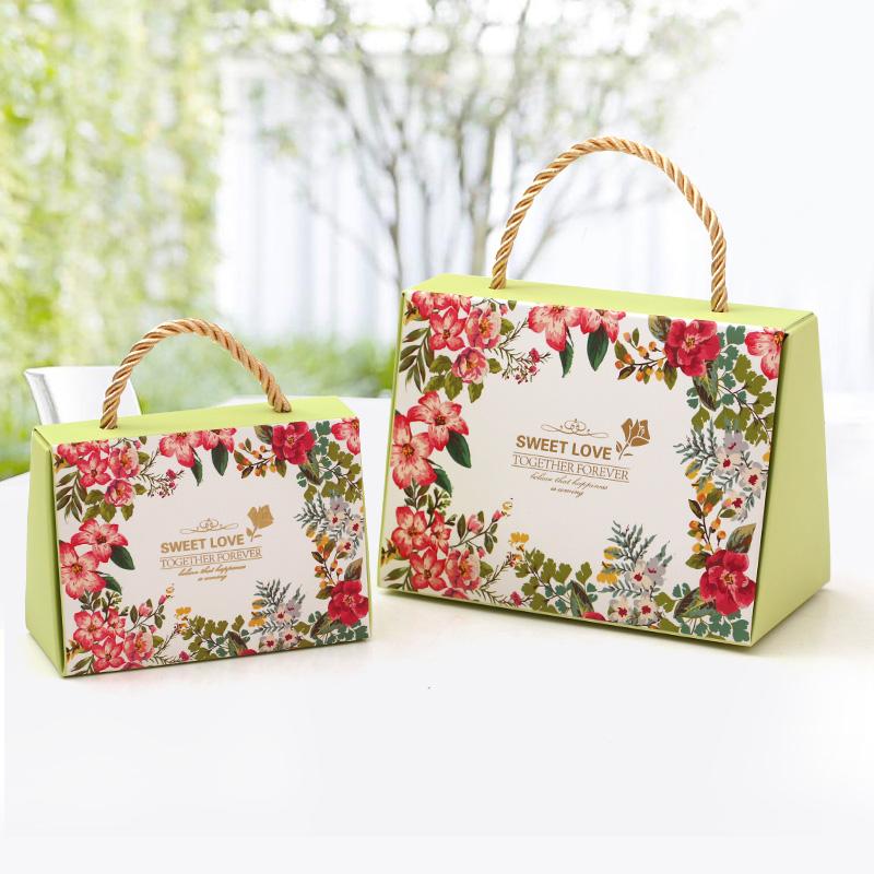 结婚创意喜糖盒纸盒 欧韩式婚礼伴手礼手提回礼品袋 婚庆喜糖盒