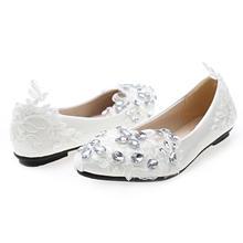 性感白色蕾丝水钻鞋中高跟新娘伴娘鞋婚纱拍照表演鞋手工制作
