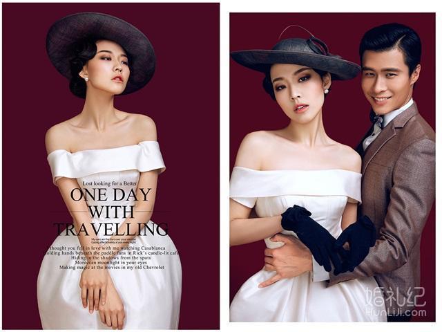 """【纯色摄影】【热销】欧式复古""""黑色礼帽""""个性婚纱"""
