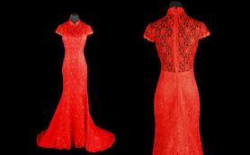 婚礼记特惠定制大红色旗袍款蕾丝鱼尾礼服