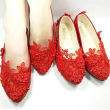 低帮红色婚鞋高跟单鞋新娘鞋平底平跟孕妇鞋手工婚鞋
