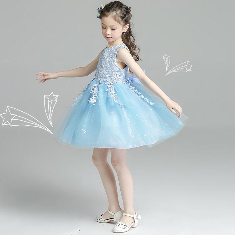 公主裙儿童连衣裙女童婚纱蓝色童装蓬蓬裙
