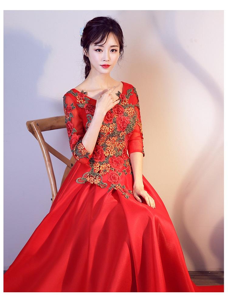 嘉佳节娜 浪漫立体花朵红色新娘结婚敬酒服长款婚纱晚宴年会礼服
