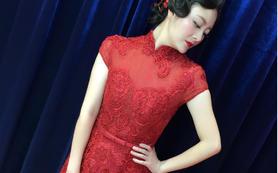 【卡卡夫人婚纱定制】新款酒红西式旗袍款