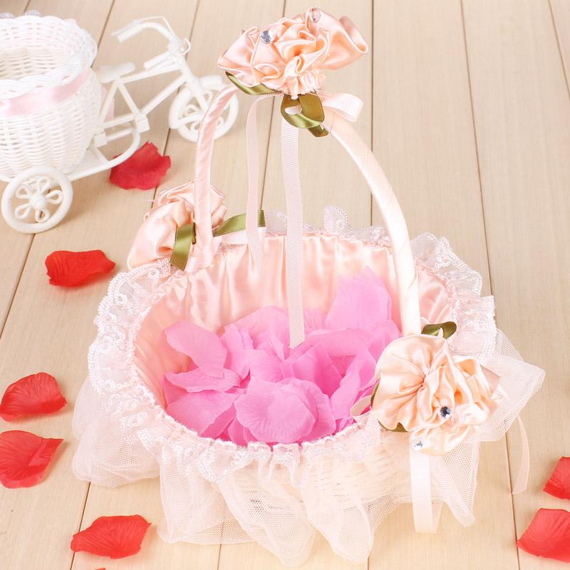 婚礼花童撒花小花篮伴娘手提蕾丝撒花瓣花篮