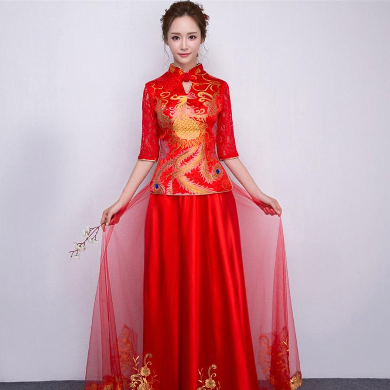 敬酒服新娘秀禾服中式嫁衣复古刺绣结婚礼服长款修身图片