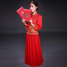 禾服新娘服中式结婚冬季旗袍红色嫁衣婚纱礼服新娘敬酒服秀和服女