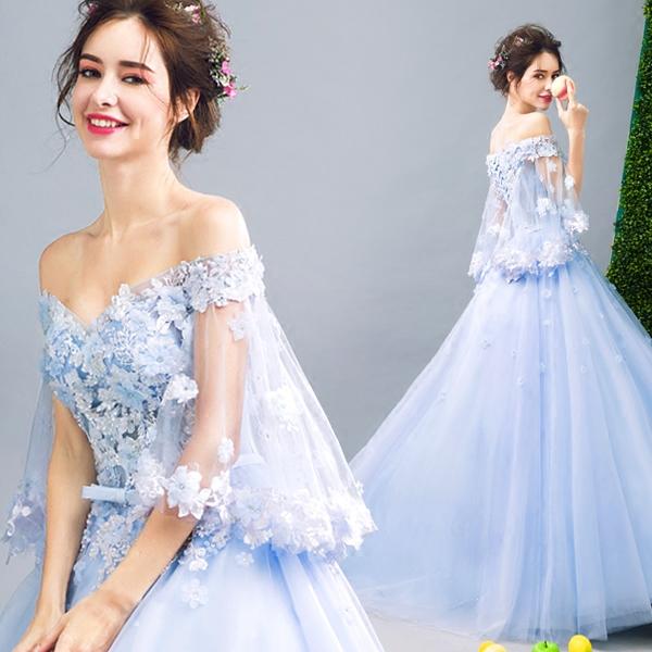 天使嫁衣 花仙子 蓝色手工花瓣新娘婚纱敬酒服晚宴年会礼服