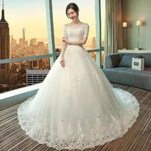 韩式蕾丝中袖修身款婚纱