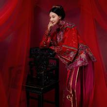 华芬中式嫁衣定制 秀禾服 酒红色绡刺绣色牡丹 北京实体店高定