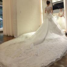 唯美婚纱!新娘2018新款韩式公主大码齐地结婚一字肩长拖尾