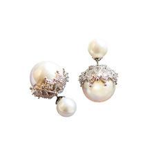 Angelababy同款微镶锆石珍珠耳饰耳钉婚纱礼服配饰