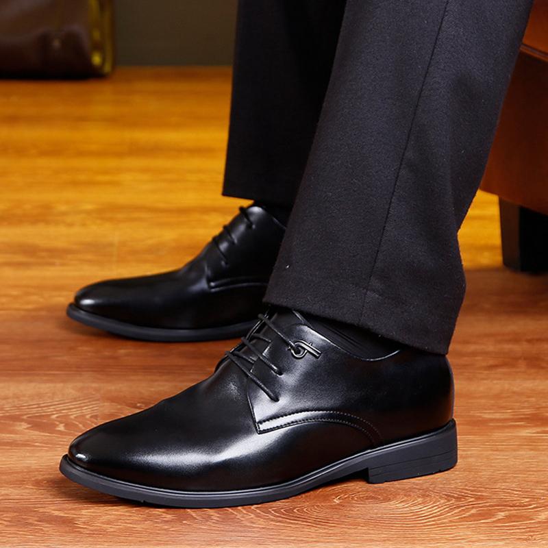 男士皮鞋軟皮軟底商務休閑男單鞋內增高皮鞋高根鞋424圖片