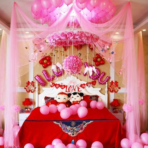 结婚用品 拉花 >【包邮】婚房布置花球 装饰拉花 婚礼必备套餐 客厅