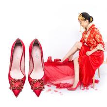 明星同款婚鞋红色高跟鞋细跟尖头鞋浅口方扣水钻单鞋公主鞋新娘鞋