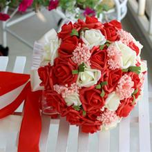 新娘手捧花 红色韩式手捧花 仿真