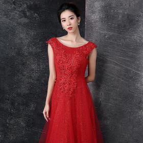晚礼服 新款新娘结婚敬酒服双肩长款大红色宴会礼服修身显