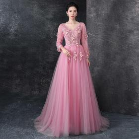 晚礼服 新款韩版主持人宴会敬酒服长款一字肩连衣裙修身显
