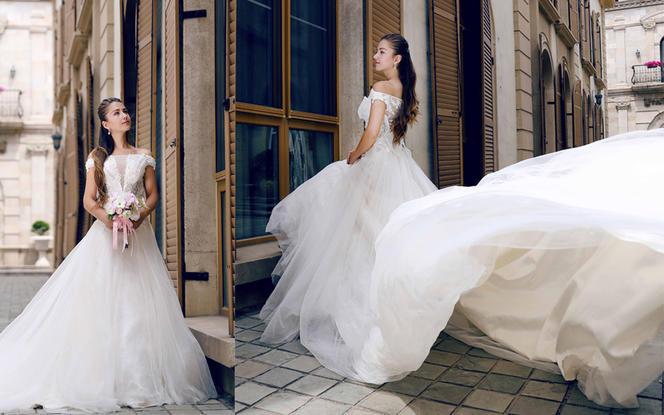 瑞妮婚纱·6件套高性2018款性感长拖尾
