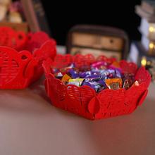 39元包邮红色水果盘糖果盘无纺布干果盘喜庆婚礼布置道具