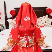 红盖头新娘结婚头饰婚庆用品中式秀禾服盖头配饰喜帕花开富贵