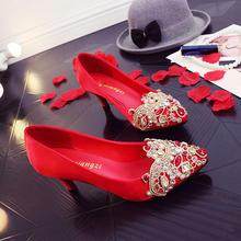 复古典红色高跟结婚鞋丝绸缎水钻水晶中跟新娘鞋敬酒上轿女单鞋