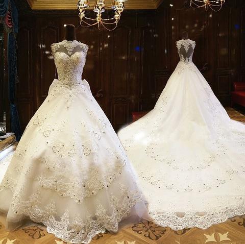 婚纱礼服新娘2017新款韩式公主宫廷一字肩女大长拖尾