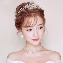 新款新娘头饰三件套装韩式饰品婚纱配饰珍珠皇冠项链耳环结婚发饰
