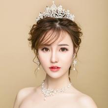 新娘头饰结婚皇冠项链三件套装婚纱礼服配饰巴洛克手工饰品