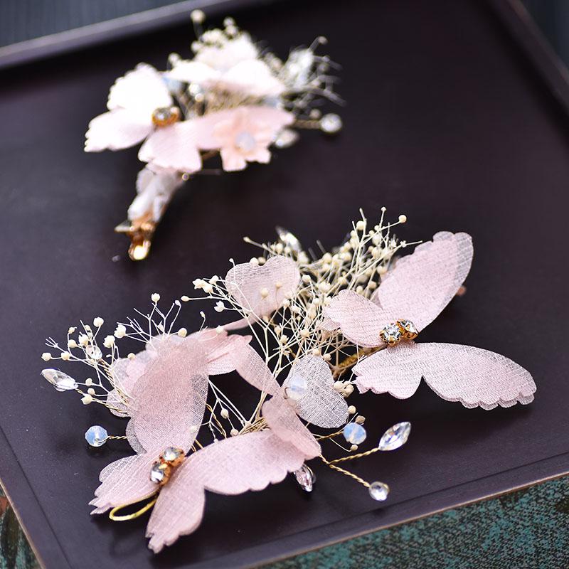 新款唯美新娘头饰套装永生花边夹蝴蝶手工发饰结婚纱
