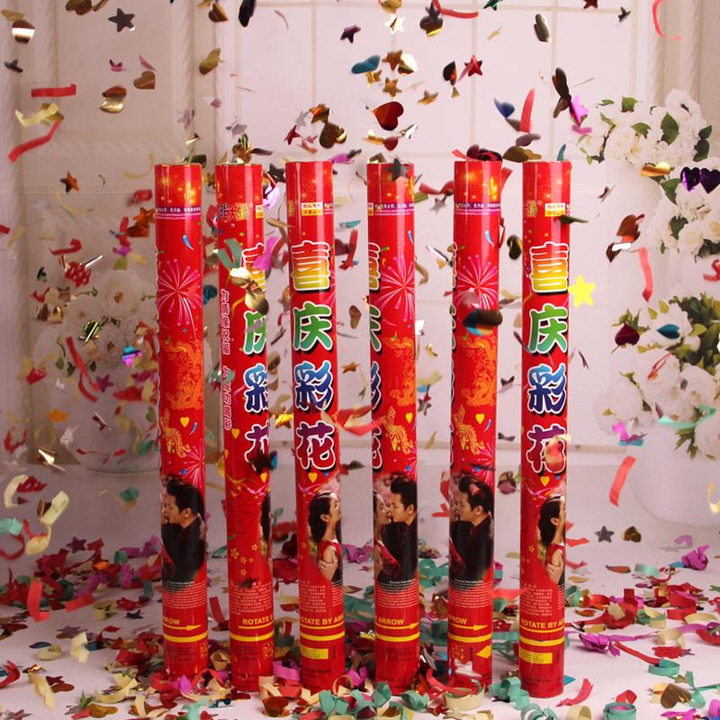 精装礼炮彩带礼花筒 婚礼手持礼炮花瓣派对开业礼宾花