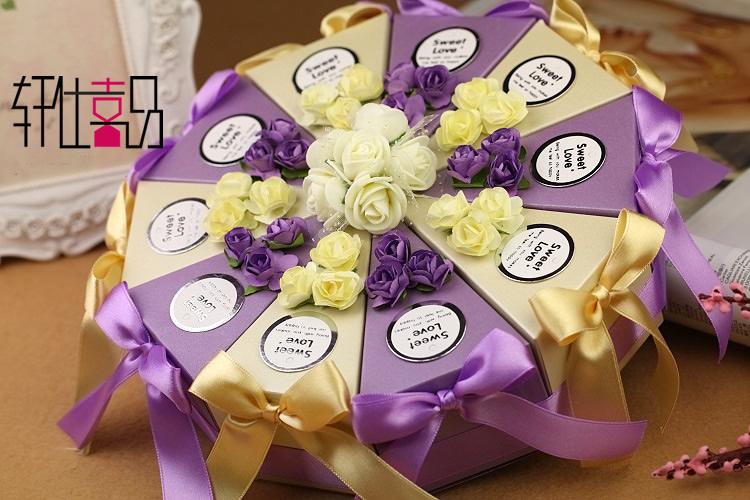 结婚婚礼糖果盒三角型 双层蛋糕喜糖盒子154