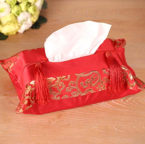 结婚用品婚礼创意红色绸缎抽纸巾盒套婚庆中式布艺婚宴餐巾纸盒套