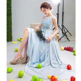 显瘦时髦蓝色花蔓新娘结婚敬酒服晚宴年会婚纱礼服伴娘服283