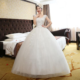 新款春季新娘韩版包肩婚纱一字肩蕾丝齐地婚纱礼服大码婚纱