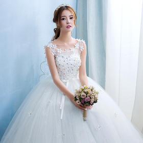 婚纱新款春季齐地修身高腰大码显瘦孕妇新娘结婚简约礼服